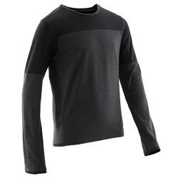 Gymshirt met lange mouwen voor jongens 500 donkergrijs ademend katoen