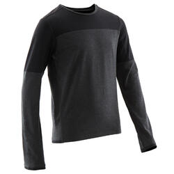 T-shirt manches longues coton respirant 500 garçon GYM ENFANT gris foncé