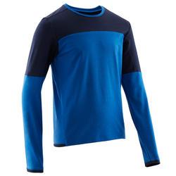 Gymshirt met lange mouwen voor jongens 500 blauw ademend katoen