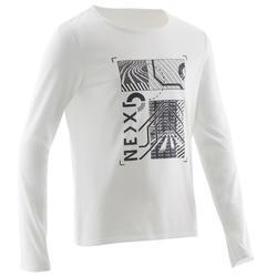 Gymshirt met lange mouwen voor jongens 100 wit met print