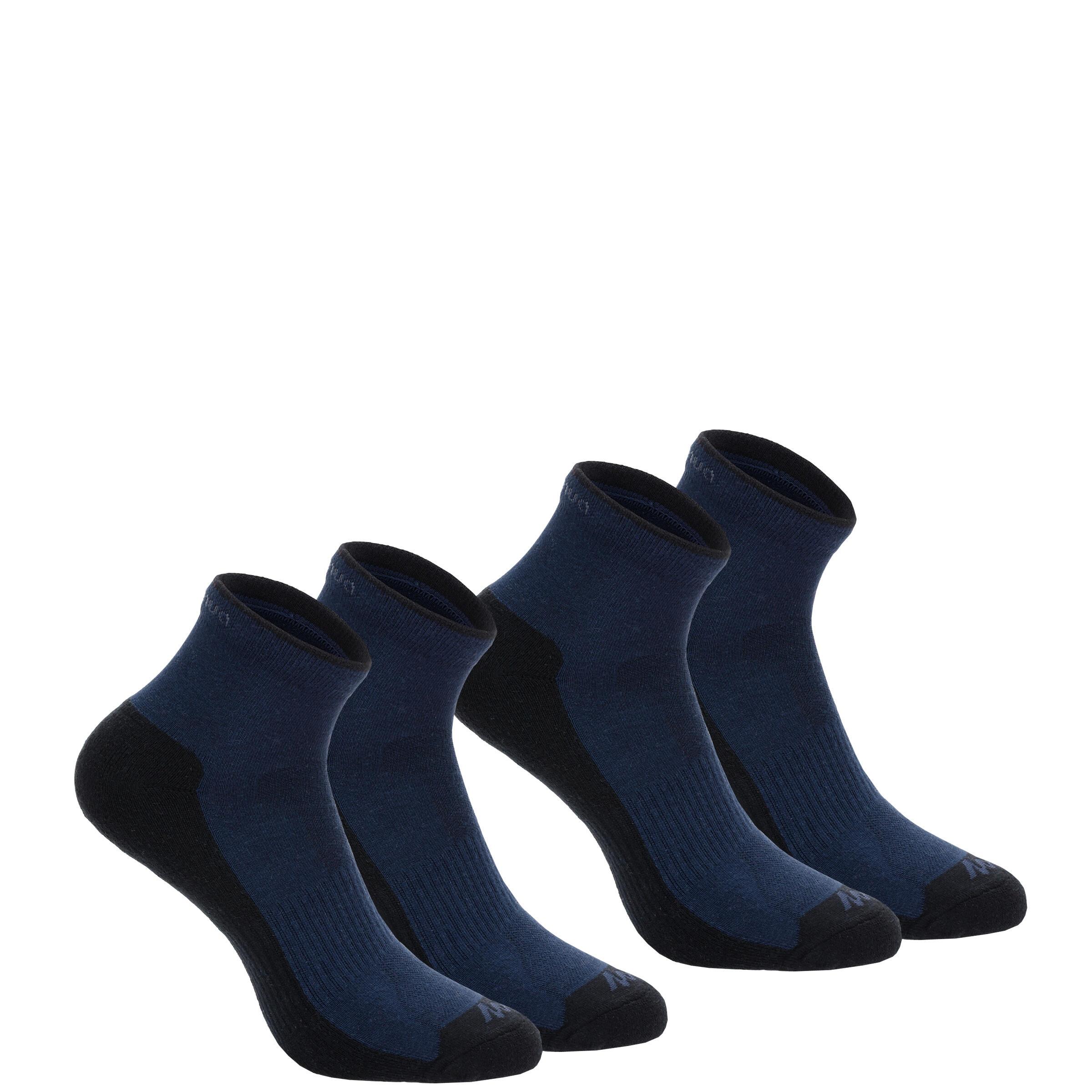 2 pares de calcetines de campismo en planicie adulto Arpenaz 50 Mid azul oscuro