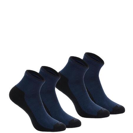 NH100 Country Walking Socks Mid x 2 Pairs - Navy Blue