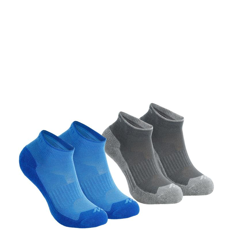 Kids' Low Hiking Socks MH100 2-pack - Blue/Grey.