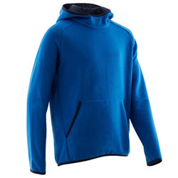 Warme gymhoodie voor jongens 100 effen blauw