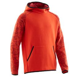 Warme gymhoodie voor jongens 100 effen rood met print op de mouwen