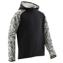 Warme gymhoodie voor jongens 100 effen zwart met beige print op de mouwen