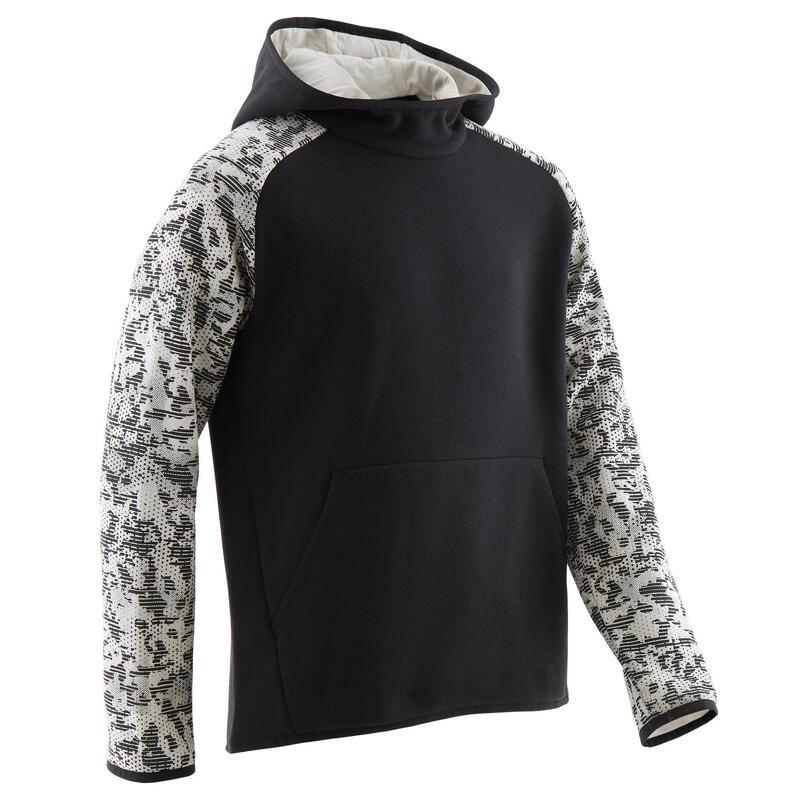Sweat capuche chaud 100 garçon GYM ENFANT noir uni/imprimé beige sur les manches