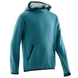 Warme gymhoodie voor jongens 100 effen turquoise met print op de mouwen