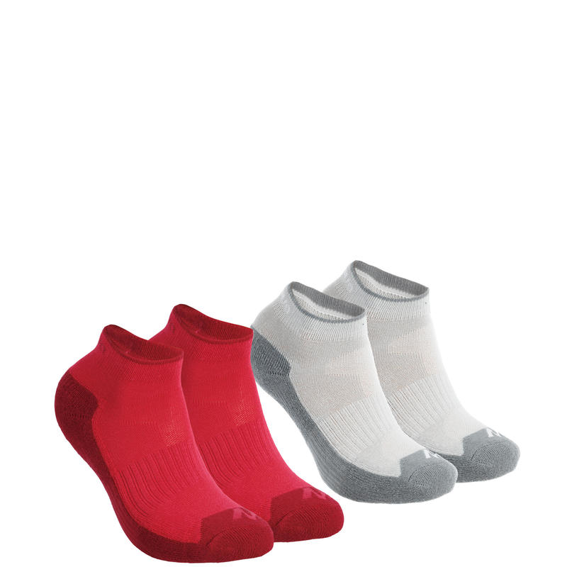 MH100 Children's Mid-Length Hiking Socks 2-Pack - Pink/Grey.