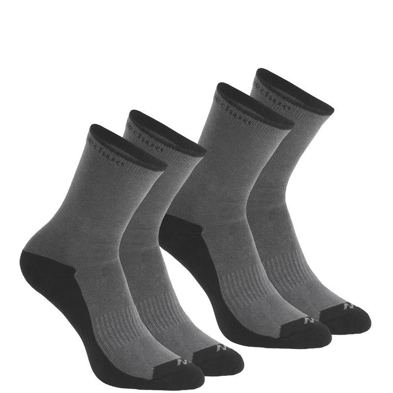 Calcetines de hiking en la naturaleza caña alta. 2 pares Arpenaz 50 gris