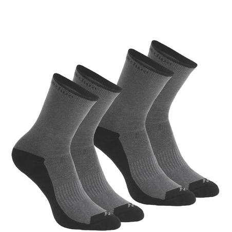 Country walking socks - NH100 High - X2 pairs - grey