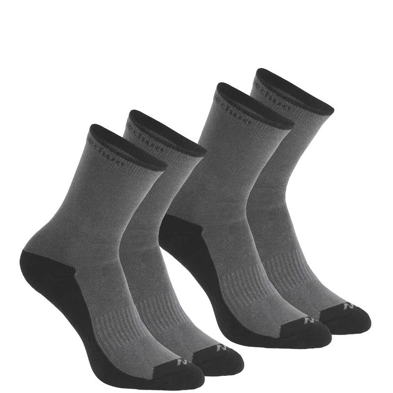 HIKING SOCKS Hiking - NH100 High X2 pairs - grey QUECHUA - Outdoor Shoe Accessories