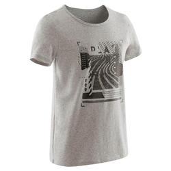 T-shirt met korte mouwen voor gym jongens 100 grijs met zwarte print