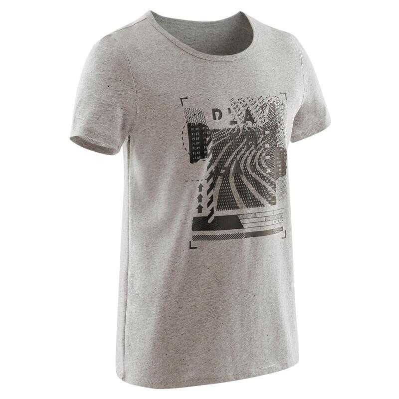 Chlapecké tričko 100 s krátkým rukávem šedé s černým potiskem