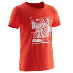 T-shirt met korte mouwen voor gym jongens 100 rood met witte print