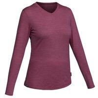 חולצת טי מצמר מרינו לטיולים דגם TRAVEL 100 לנשים – סגול