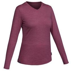 T-Shirt viaggio donna TRAVEL100 WOOL viola