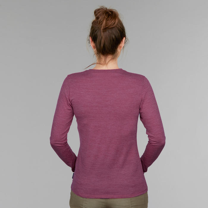 Merino shirt voor backpacken dames Travel 100 paars