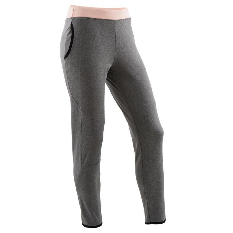 Pantaloni pesanti bambina ginnastica S500 grigio melange