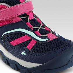 女童款低筒魔鬼氈登山健行鞋Crossrock-藍/粉紅配色