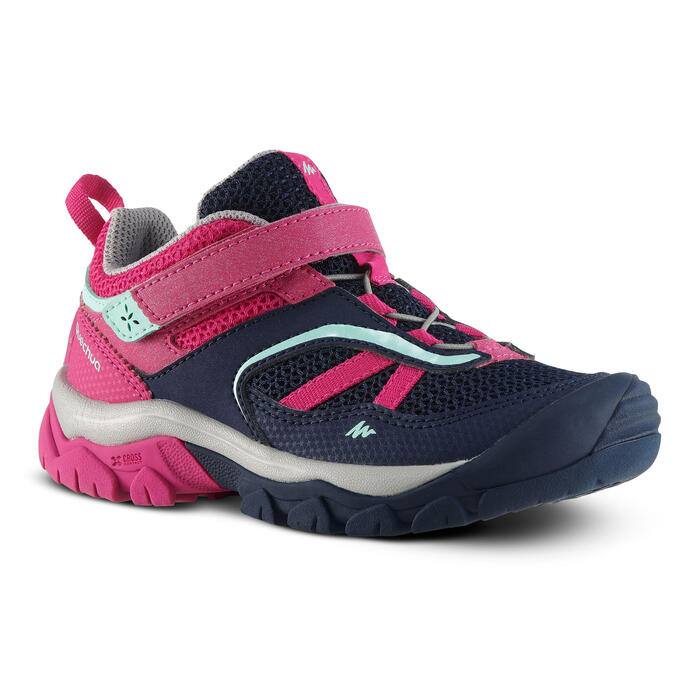 Lage bergwandelschoenen voor meisjes Crossrock klittenband blauw/roze