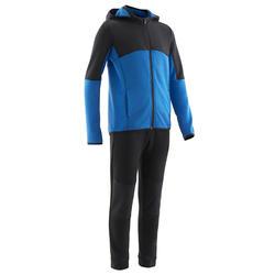 Warm en ademend trainingspak voor gym jongens S500 synthetisch zwart/blauw