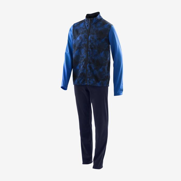 Warm en ademend trainingspak GYM'Y jongens S500 synthetisch blauw/marineblauw