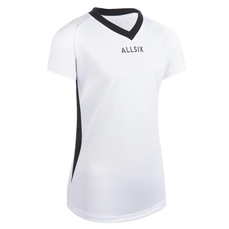 MAILLOT DE VOLLEY-BALL V100 FILLE BLANC
