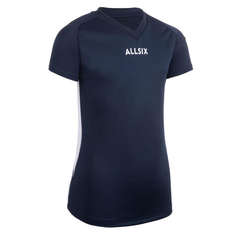 Volleybalshirt voor meisjes V100 marineblauw