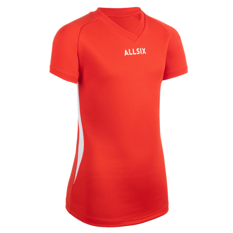 MAILLOT DE VOLLEY-BALL V100 FILLE ROUGE