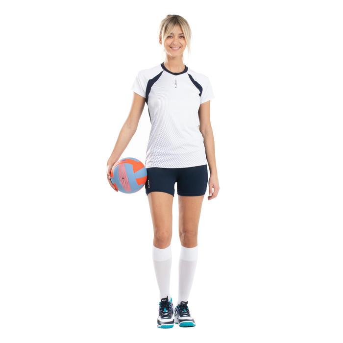 Maillot de volley-ball VTS500 femme blanc et bleu marine