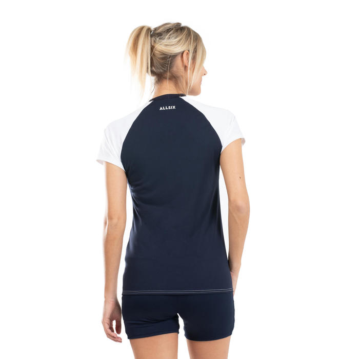 Volleybalshirt voor dames VTS500 wit/marineblauw