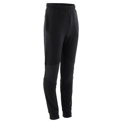 Kids' Light Slim-Fit Cotton Jogging Bottoms - Black