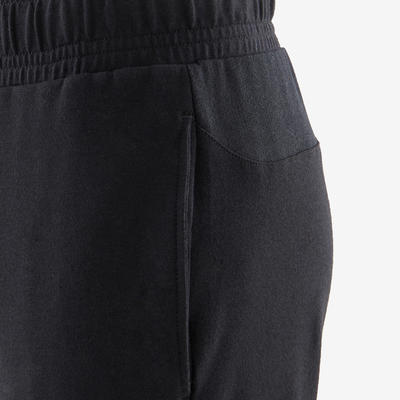 Boys' Loose Light Breathable Cotton Gym Bottoms 500 - Black