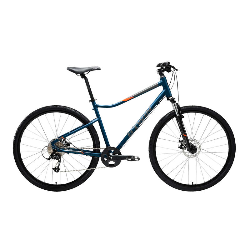 HYBRID TREKKING BIKE Cycling - 500 Hybrid Bike - Blue RIVERSIDE - Bikes