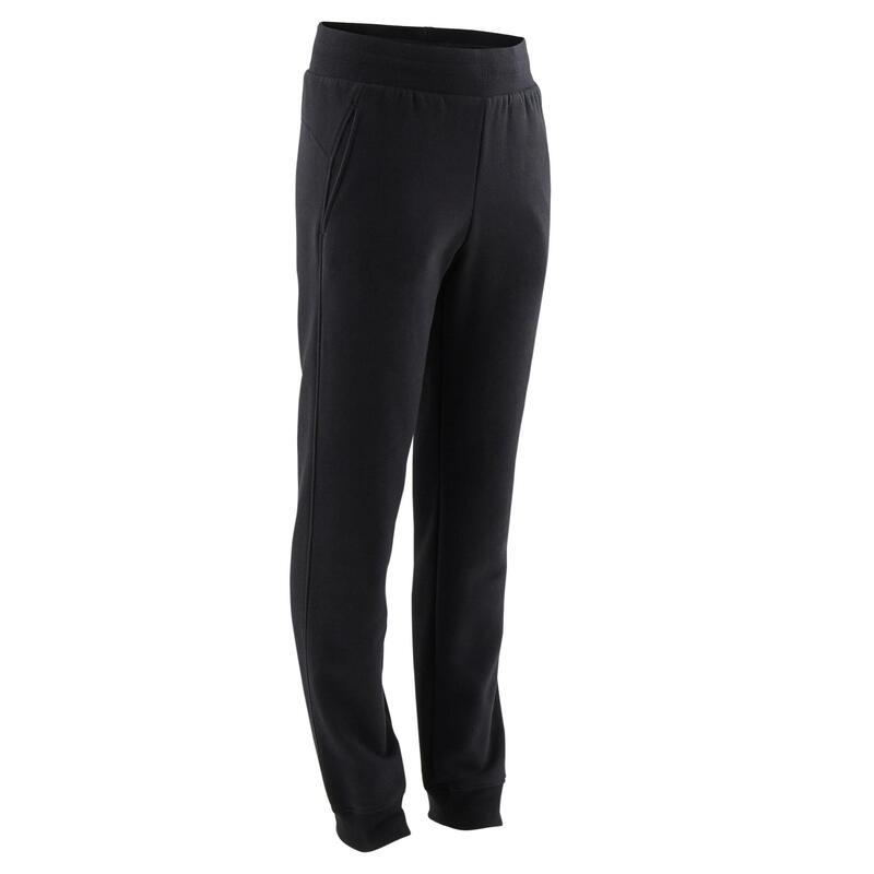 Basic joggingbroek voor kinderen met zakken zwart