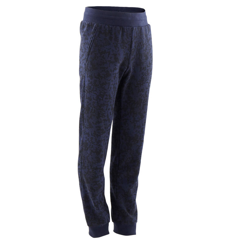 Pantalon de jogging large chaud 100 garçon GYM ENFANT marine imprimé