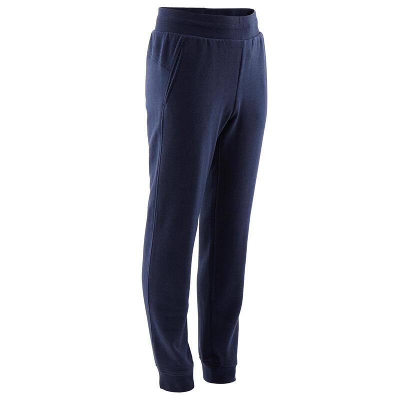 Basic joggingbroek voor kinderen marineblauw met zakken