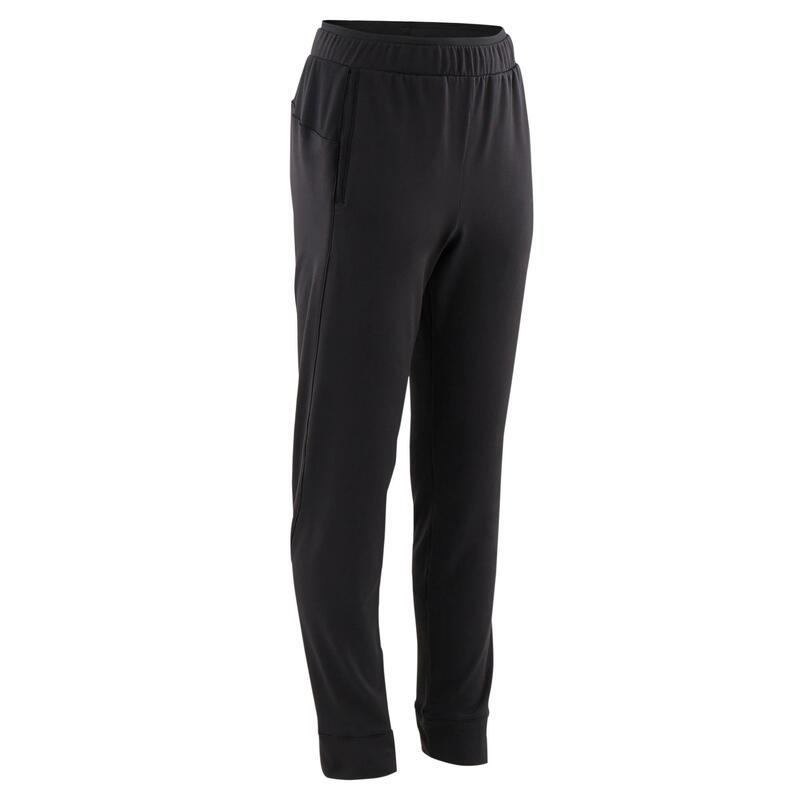 Pantalon de trening S500 respirant educație fizică negru băieți