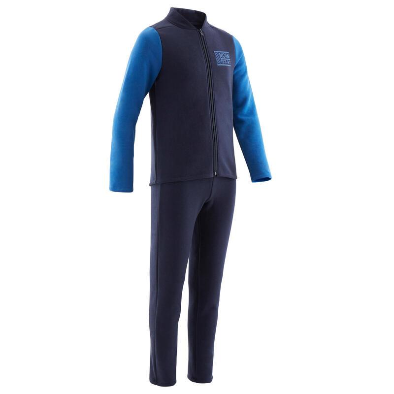 Survêtement chaud 100 garçon GYM ENFANT marine/manches bleues Warmy Zip