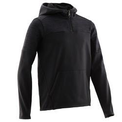 Warme ademende gymhoodie halve rits voor jongens S500 synthetisch zwart