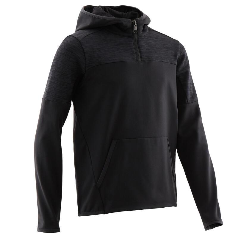 Sweat capuche 1/2 zip chaud, synthétique respirant S500 garçon GYM ENFANT noir