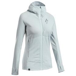 Maglione tecnico con cappuccio lana merinos donna ALPINISM grigio