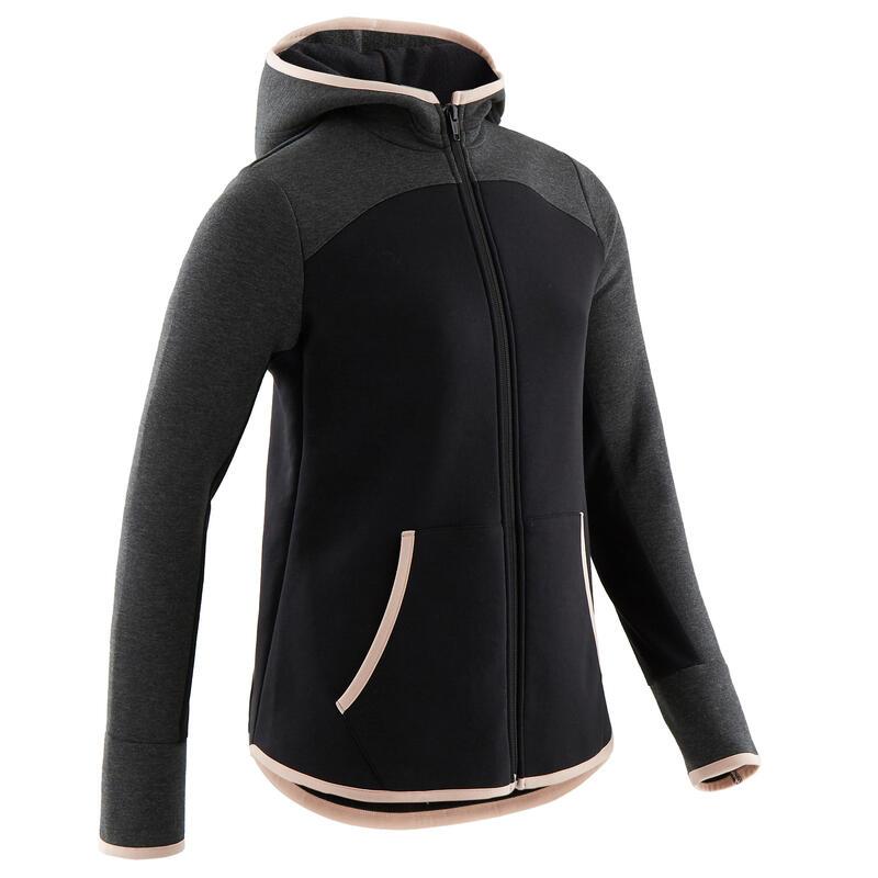 Veste capuche chaude 3/5, coton respirant 500, fille GYM ENFANT noir/gris foncé