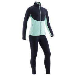 Trainingsanzug S500 Gym warm Synthetik atmungsaktiv Kinder marineblau/grün