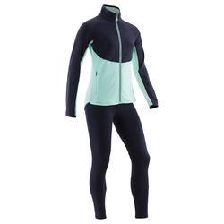 Warm en ademend trainingspak voor gym meisjes S500 marineblauw/groen synthetisch