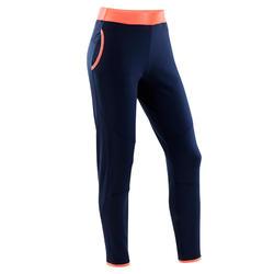 Warme en ademende gymbroek voor meisjes S500 blauw/rode tailleband synthetisch