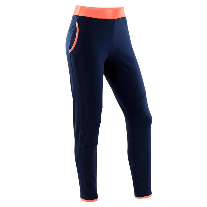 Pantaloni pesanti bambina ginnastica S500 blu-corallo