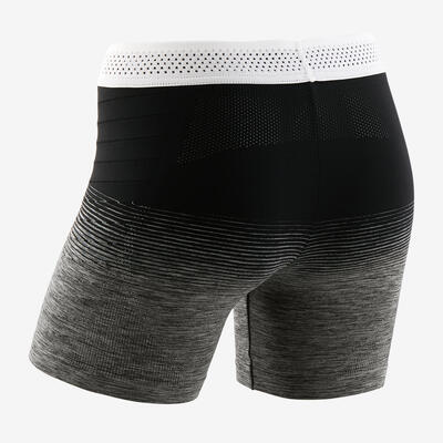 Girls' Seamless Breathable Gym Shorty S900 - Black/Touch of White Waistband