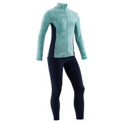 Trainingsanzug 100 Gym Kinder grün mit Print/ Hose marineblau